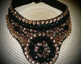 After Life Accessories: Handmade Beaded Bib Gold bronze Black. The Vixen Necklace