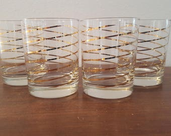 Kraftware Gold Swirl Glasses - Set of 4