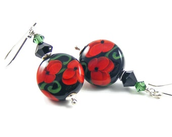 Red Poppies Sterling Silver Earrings, Handcrafted Lampwork Glass, Red Black & Green Elegant Jewellery