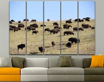 Buffalo Print art Buffalo canvas Buffalo print Cape buffalo Herd buffaloes African wildlife Bizon print Printable art Water buffalo print
