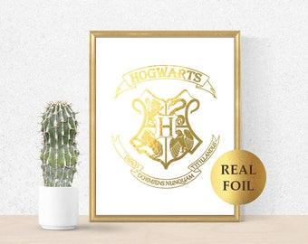 Harry Potter Hogwarts Gold Print, Hogwarts Gold Foil, Hogwarts Harry Potter Poster Party Decor, Hogwarts Art, Harry Potter nursery Decorate