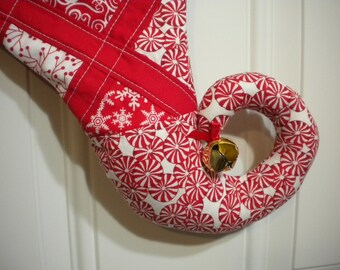 Patchwork Quilted Christmas Stocking in Red and White with Curly Elf Toe