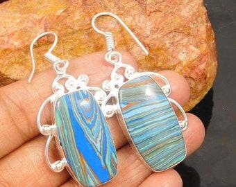 Rainbow Calsililca Silver Plated/Overlay Earrings  Jewelry
