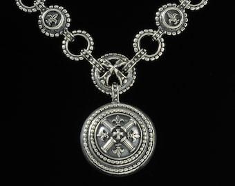 Classic Fleur de lis and Column Necklace, B.C. Silver Collection     6128S