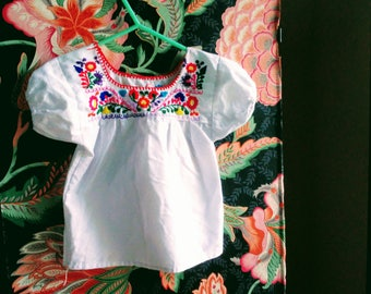 girls hand embroidery mexican shirt costume red white ethnic halloween friendly non-scary comfortable cotton blend
