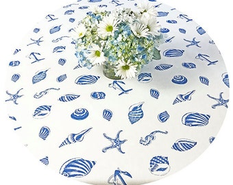 "Round Tablecloth 42 t0 60"" French  Laminated Stain Resistant Coated Seaside off White -or custom made your size - Umbrella hole available"