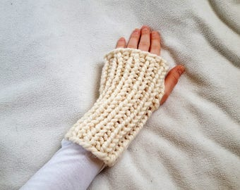 Knit Fingerless Hand Warmers, Wool Fingerless Gloves Knitted, White Chunky Knit Gloves - Fisherman Salem Gloves
