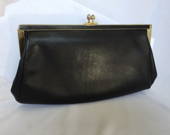 Vintage, Classic Black, Leather Clutch. Gold Trim. 1950s