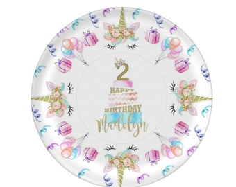 Birthday Plate Personalized - Unicorn Birthday Plate - Children's Plate - Kids Birthday Plate - Custom Melamine Plate - Mad For Monograms