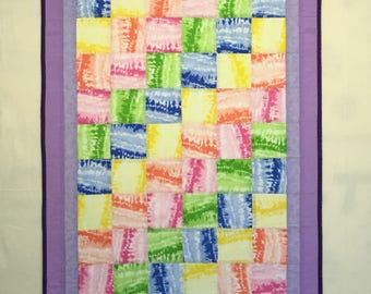 """Pretty in Pastels a homemade baby quilt  size 49"""" by 32 1/2"""", free domestic shipping."""