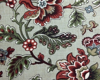 Rust Flowers with Green Leaves on Tan Background, Le Marais by French General for Moda Fabrics, 100% Cotton