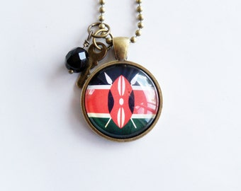 Flag of Kenya Necklace - Kenyan Flag - World Flags - Patriotic Pendant - African Flag - Custom Jewelry - Travel Necklace - Flag Jewelry