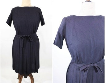 "1960s classic dress   solid black short sleeve simple dress   vintage 60s dress   W 32"""
