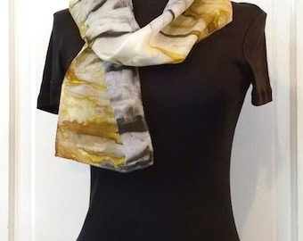 Gray and Gold Silk Scarf, 8x52 inches, Abstract Striped Scarf, Small Scarf, Narrow Scarf, Handpainted Silk, Gift For Mom, Gift for Woman