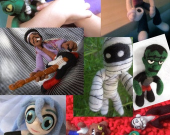 Custom Made Art Doll Sculpture - Needle Felted Figures Monsters Rock Stars and More - Made to Order- Get Your Own One of A Kind New Friend