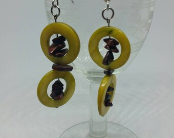 Quirky Yellow Abalone Shell and Red Jasper Earrings with Surgical Steel Ear Hooks