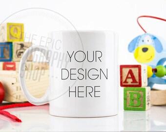 Mug Styled Stock Photography / Staged Photography Mug / Mug Background / Stock Mug Photo / Boys Room Blocks Gender Neutral Toys ABC / M008