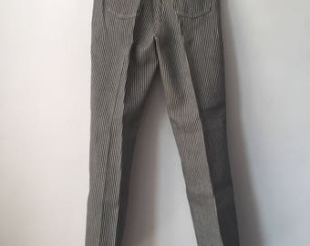 vintage wrangler railroad stripe jeans student size 14 slim deadstock NWT 70s made in USA