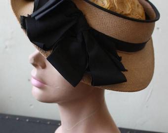 Vintage 40s Summer Straw Open Top Wide Brim Hat