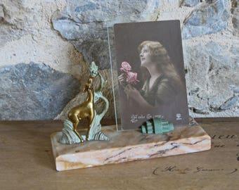 Art déco Français photo cadre avec cerfs statue sur socle en marbre rose