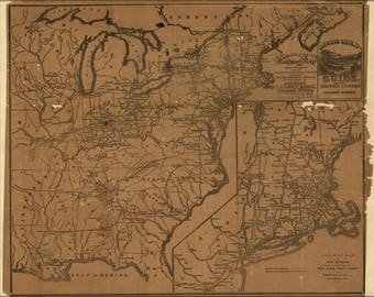 Poster, Many Sizes Available; Railroad Map Of United States Of America 1850'S
