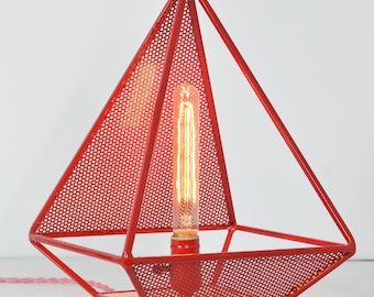 The Vickery Diamond Table Lamp , Red Desk / Table Lamp with choice of vintage style bulb