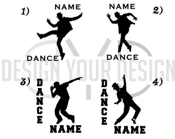 Male Dance Decal - Adhesive or Iron On - With Name