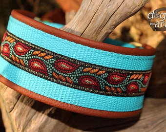 "Dog Collar ""Leaves"" by dogs-art, large dog collar, floral dog collar, 2 inch collar, leather dog collar, brass dog collar, martingale collar"