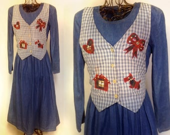 DENIUM VESTED LONG Dress,ugly Christmas,County Chic