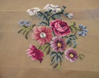 Vintage 1950s Era Paragon Needlepoint Canvas Floral  20 x 20 Preworked Design Complete Seat Chair Cover Pillow Art
