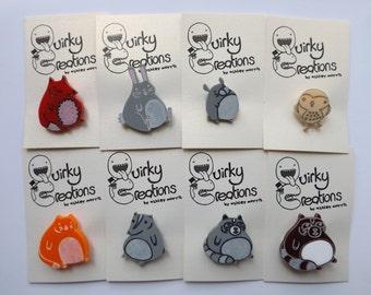 Tubby Perspex Animal Badges