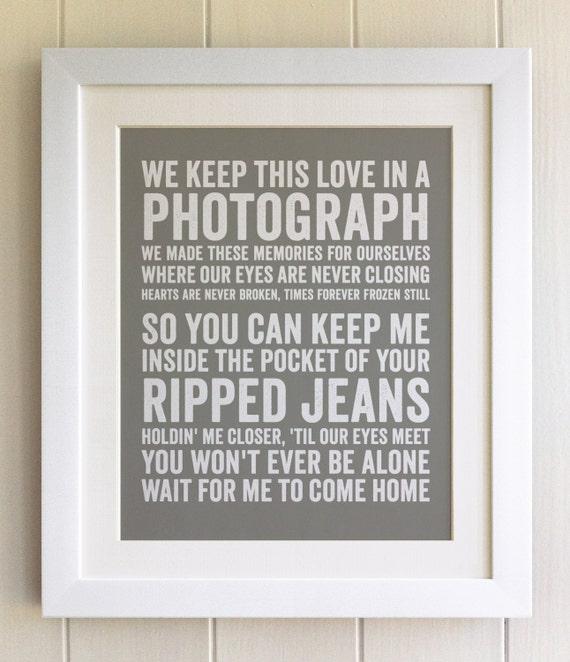 Framed lyrics print ed sheeran photograph 20 colours stopboris Choice Image