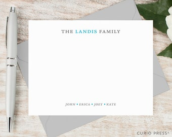 Personalized Notecard Set / Set of Flat Personalized Stationary / Family Note Cards / Personalized Stationery /  // SIMPLE FAMILY