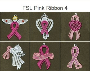FSL Pink Ribbon Ornament Free Standing Lace Machine Embroidery Designs Instant Download 4x4 hoop 12 designs APE1784