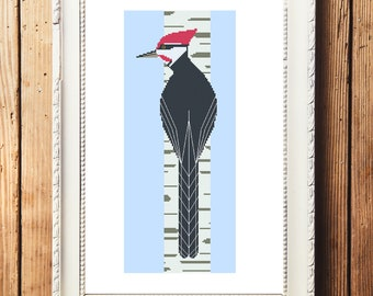 Pileated Woodpecker and Birch Cross Stitch Pattern (Digital Download)