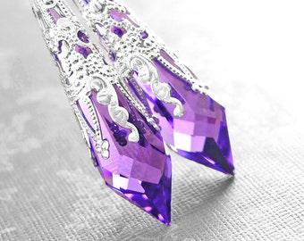Purple Crystal Earrings Sterling Silver Earrings Swarovski Violet Purple Earrings Long Dangle Drop Earrings Crystal Amethyst Earrings