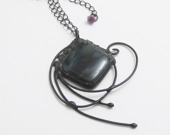 Long Pendant Necklace | Eclectic Fused Glass | Boho Jewelry | Stained Glass Pendant