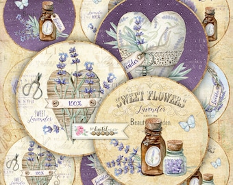 I Love Lavender - 2.5 inch circles - set of 12 - digital collage sheet - pocket mirrors, tags, scrapbooking, cupcake toppers