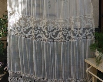 Nice old curtain NET and lace, net embroidered hand and fringes