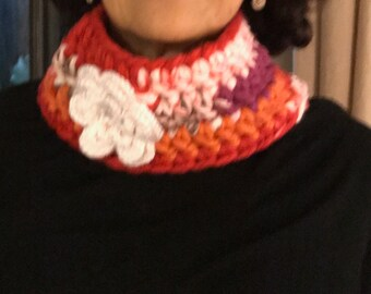 Handmade crochet scarf Colorful neck warmer with white flower