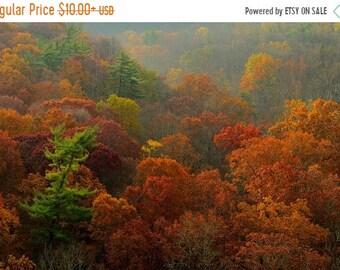 SALE 20% Off Autumn Foliage and Rolling Hills Landscape Photography High Rocks Vista Fall Color Bucks County Pennsylvania Art Print Home Dec