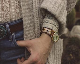 Hand-beaded Bracelet Watch, Native american Inspired