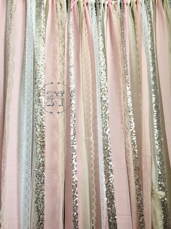 Blush Backdrop Silver Sequin Curtains Fabric Rag Garland