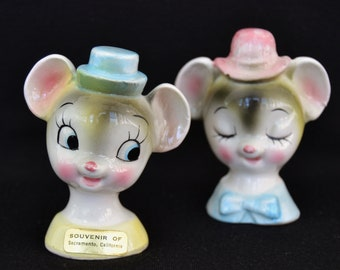 Vintage Mouse Head Salt and Pepper Shakers Made in Japan