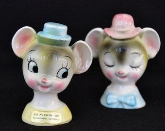 Tête de souris Vintage salières et poivrières Made in Japan