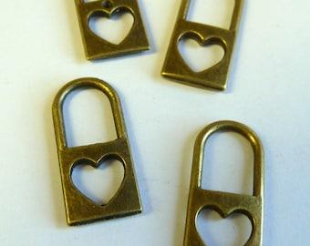 Bronze Heart Cutout Lock Charms