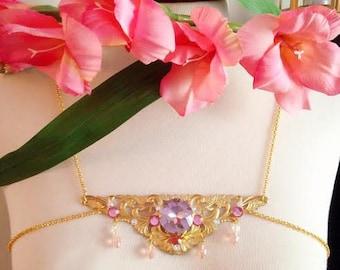 Art Nouveau Mucha jeweled brass necklace/ chestplate