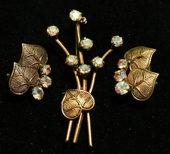 Germany Rhinestone Brooch Earrings Set