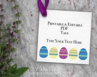 Printable Easter Tag Template // Blank Editable Gift Tag, Easter Egg Tag, Easter Basket Gift Tag // 3 inch 3x3 PDF DIY Digital Download Tags
