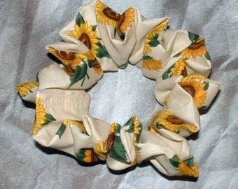 Floral Hair Scrunchie, Hair Tie, Ponytail Holder Tuscany Sunflowers
